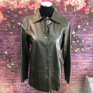 1990's YSL Rive Gauche Gray Pearl Leather Jacket